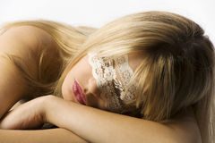 Girl with lace mask Royalty Free Stock Photo