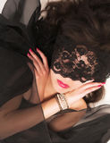 Girl with lace mask. Close up stock photography