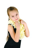 Girl in a lacy scarf Stock Images