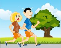 Man and woman run. Girl and lad on matutinal run on nature vector illustration