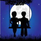 Girl and lad sit on seesaw. Silhouettes lad and girls on seesaw in the night royalty free illustration