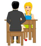 Girl and lad at the table. Making look younger girl and man sit at the table royalty free illustration