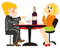Girl and lad at the table.Vector illustration. Cartoon of the girl and lad sitting for covered by table with bottle blame stock illustration