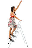 Girl and ladder Royalty Free Stock Image
