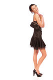 Girl with ladies' handbag stock photo