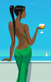 Girl lady standing on the balcony with a glass of champagne wine in sea sky club bar vector illustration Stock Photo