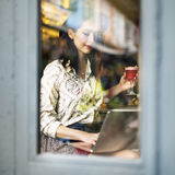 Girl Lady Style Restaurant Leisure Chill Cafe Fun Concept Royalty Free Stock Photo