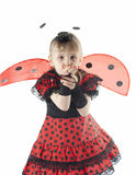 Girl in ladybug costume on white background Royalty Free Stock Photo