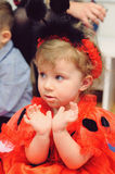 Girl in Ladybug Dress Royalty Free Stock Images