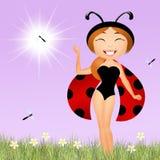 Girl ladybug Stock Photography