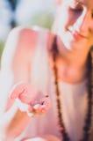Girl with ladybug Royalty Free Stock Images
