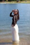 Girl at the lake Royalty Free Stock Photos