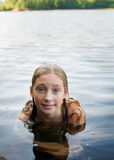 Girl in a lake Royalty Free Stock Images