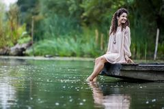 Girl on the lake Royalty Free Stock Photography