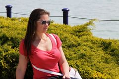Girl at Lake Balaton Stock Photography