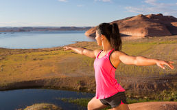 Girl and Lake Powell Workout Stock Image