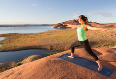 Girl and Lake Powell Yoga Stock Image