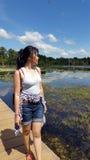 Girl at Lake of Preah Neak Pean, Siem Reap, Cambodia Royalty Free Stock Photography