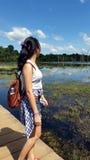 Girl at Lake of Preah Neak Pean, Siem Reap, Cambodia Stock Photo