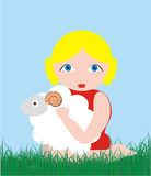 Girl and lamb Royalty Free Stock Photos