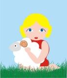 Girl and lamb Royalty Free Stock Photos