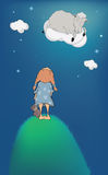 The girl lamb on a cloud vector illustration
