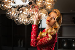 Girl with lamp Royalty Free Stock Image