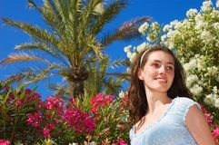 Girl at the landscape. A white girl at the summer landscape royalty free stock photos
