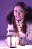 Girl with lantern Royalty Free Stock Photos