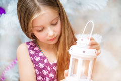 Girl with a lantern Royalty Free Stock Photography