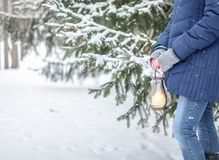 Girl with lantern in winter forest royalty free stock image