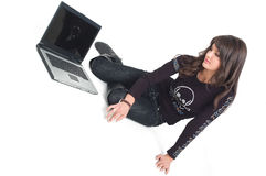 Girl with lap top Stock Images
