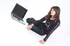 Girl with lap top Royalty Free Stock Image