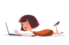Girl on lap top computer  illustration cartoon character Royalty Free Stock Photo