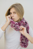 Girl in lapin mauve scarf Royalty Free Stock Photo