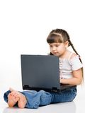 Girl with laptop. A photo of  a girl with laptop, isolated on white Stock Photo