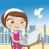 Girl with laptop. Vector illustration of girl with laptop Royalty Free Stock Photo