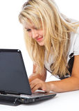 Girl with laptop. Isolated on white background Royalty Free Stock Photo