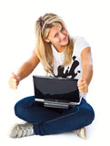 Girl with laptop. Isolated on white background Royalty Free Stock Image