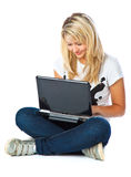 Girl with laptop Royalty Free Stock Photo