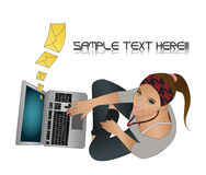 Girl with laptop. An illustration of a girl with a laptop Stock Photography