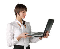 The girl with the laptop Stock Images