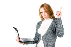 Girl with laptop. Royalty Free Stock Image