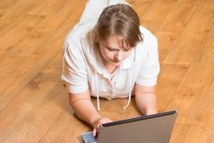 The girl with the laptop Royalty Free Stock Image