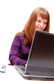 Girl with laptop Stock Photos