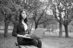 The girl with laptop Royalty Free Stock Image