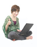Girl with laptop. Cheerful girl study chat on laptop good choice smile. white background Stock Images
