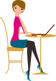 Girl with laptop. Illustration art Royalty Free Stock Photos