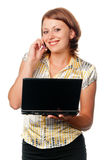 Girl with the laptop Royalty Free Stock Photography