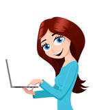 Girl and a laptop Royalty Free Stock Photo